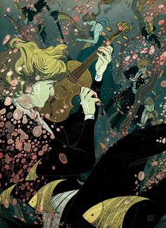 Illustration by Victo Ngai -New York-based illustrator Victo Ngai creates captivating illustrations with elaborate narratives. Her unique style features swirls of lines and colors that are alive with energy and movement. In much of her work, Ngai uses a signature palette of oranges, reds, greens, and browns to create the ornate forms that have a traditional feel.