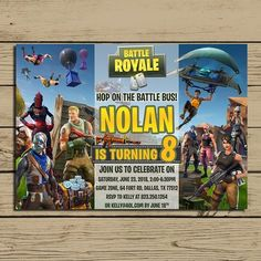 Fortnite Invitation * Fortnite Birthday Party Invite * Fortnite Birthday Invitations * Game Party * Personalized * YOU PRINT 13th Birthday Parties, 9th Birthday, Birthday Party Invitations, Birthday Party Themes, Birthday Ideas, Army Party, Diy Party Supplies, Party Entertainment, Party Time