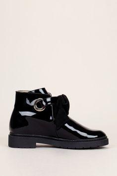 Boots noir cuir vernis noeud suède Eelodie - Paul&joe