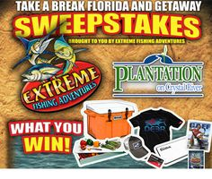 Hey friends! It's time for the TAKE A BREAK AND GETAWAY SWEEPSTAKES!! Winner receives a 4 day/3 night stay at the Plantation on Crystal River and many more goodies! All you need to do to win is 'like' both Extreme Fishing Adventures and thePlantation on Crystal River! You may enter through the Sweepstakes Facebook tab orhttp://woobox.com/8hngjz will take you right to it! Good luck everyone!
