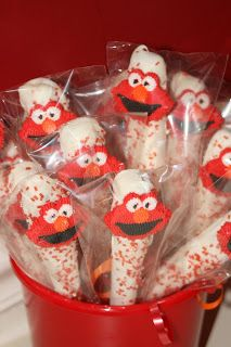 chocolate dipped pretzel ideas | elmo pretzel sticks these are just pretzels rods dipped in