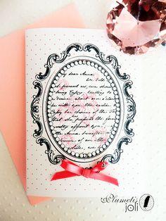 Carte romantique Jane Austen ruban perles & strass par PlumetisJoli, €5.00