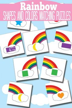 Free Printable Rainbow Shape and Color Matching Puzzles