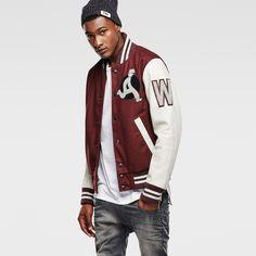 ★G-Star RAWおすすめジャケット★ ただのジャケットではないと言える程、寒さから確実に守ってくれるコレッジ風なこのジャケットには、最高級なウールを満遍なく使用しています。更に、ジャケットの肩回りとポケット部分にはプレミアムレザーが足しなわれており、かっこいい仕上がりとなっています。