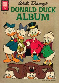 Dell Four Color Donald Duck Album cover by Carl Barks Vintage Disney Posters, Vintage Comic Books, Vintage Cartoon, Vintage Comics, Walt Disney, Disney Duck, Disney Art, Duck Cartoon, Mickey Mouse Cartoon