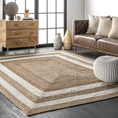 Maui Jute Double Border Natural Rug Dark Wood Floors Living Room, Rugs In Living Room, Area Rug Sizes, Area Rugs, Dark Furniture, Wicker Furniture, Rug Size Guide, Buy Rugs, Rugs Usa