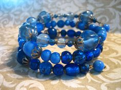 Vintage Shades of BLUE Glass Bead Wrap Cuff by charmingellie, $28.00