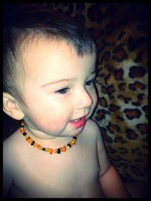 Polished multi-color amber teething necklace #CrunchyMomLife