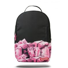 Sprayground Pink Money Rolled Backpack ( 105) ❤ liked on Polyvore featuring  bags 4d148de36d3b3