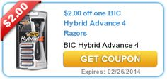 $2.00 off one BIC Hybrid Advance 4 Razors Coupon