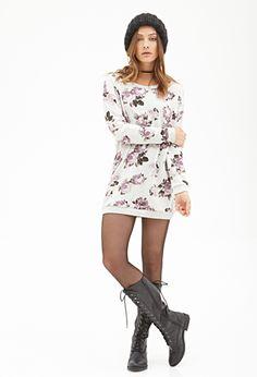 Heathered Rose Print Sweatshirt | FOREVER21 - 2000118599