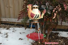 Whimsical Outdoors Garden Rooster Teapot with Hanging Leaf Bird Feeder by RecycledBySkattur, $35.00 USD