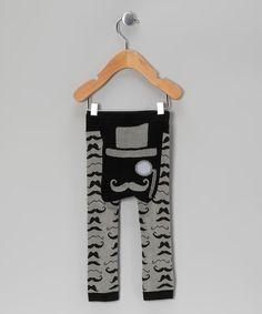 Black Mustache Leggings - Infant