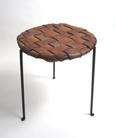 leather belt stool (Combine old leather belts with MARIUS Ikea chair).