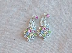 Vintage White Enamel Rainbow Rhinestone clip by DivaInTheDell, $9.95