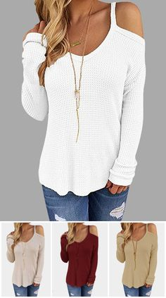 Casual Beige Thin Shoulder Cold Shoulder Long Sleeve T-shirt