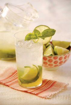 Basil Limeade - Refreshing, easy to make. I think it was better the second day; you could taste the more of the basil. I added a splash of cranberry juice to one glass which was good also. Next time I think I'll try adding a little rum...