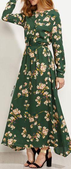 Платья в пол с цветочным принтом. 5