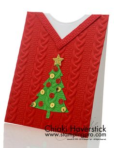 """My version of an ugly Christmas Sweater card… Real Red and Garden Green cardstocks;Perfect Pines framelits; Cable Knit Dynamic TIEF; Gold Glimmer paper; 1/4"""" circle punch; Star punch(retired); Gold S"""