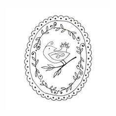 Bird Embroidery Pattern Woodland Animal Digital Downloadable 0055