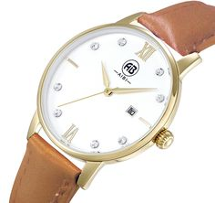 AIBI Women`s Luxury Gold Case Crystals Analog Quartz Date Dress Watch with Brown Leather Strap -- Tried it! Love it! Click the image. (This is an amazon affiliate link. I may earn commission from it)