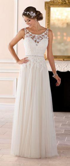 Wedding Dresses : Wedding Dress by Stella York Spring 2017 Bridal Collection Grecian Wedding, Lace Wedding Dress, Dream Wedding Dresses, Bridal Dresses, Flower Girl Dresses, Dresses Dresses, Tulle Wedding, Vintage Dresses, Wedding Gowns