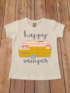 Happy Camper Tee,  Black Sparkle baby shower gift, Baby girl clothes, Silver Glitter Happy Camper Road trip T-Shirt ,Vacation Shirt by SnowSew on Etsy https://www.etsy.com/listing/234715404/happy-camper-tee-black-sparkle-baby