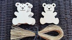 5x Wooden Teddy Bear Plain Shape Shapes Hanging Decorations Rustic Tag H: 7cm