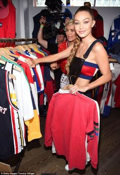 She's a star: Gigi paired the TommyXGigi piece - which retails for $250 - with a sold out ...