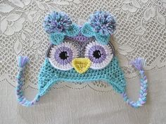 Lilac Purple and Aqua Colored Crochet Owl Hat by BusterBrowns