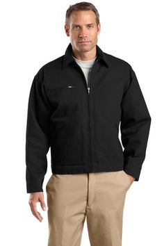 Buy the CornerStone - Duck Cloth Work Jacket Style J763 from SweatShirtStation.com, on sale now for $54.88 #duckcloth #jacket #durable Black