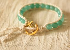 Anchor Bright Mint Green Sea Charm Boho Bracelet- Natural stone, Mooring rope bracelet, Sundance Style, Beach jewelry, Bohemian Wrap