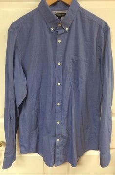 Banana Republic Soft Wash Blue Button Front Dress Shirt Size Large 100% Cotton #BananaRepublic