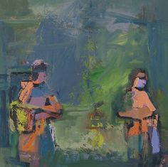 Sisters Who Do Not Speak by Ursula O`Farrell Oil ~ 30 x 30