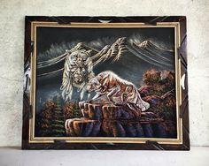 Vintage black velvet painting of wolf warrior by Ernesto Sanchez, Native American inspired wolf spirit art, black velvet art, retro decor