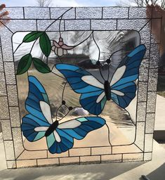 Dragonfly Farm's latest butterfly custom window. A beauty in blue!