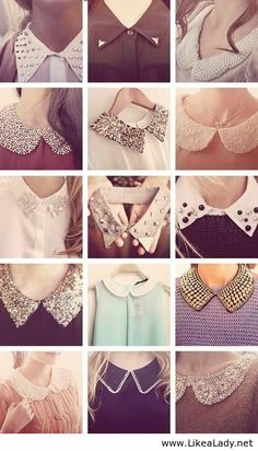 Studded Collar Shirt- How to Wear It peter pan collars, love it. Reminds me of Kate Middleton Dress Neck Designs, Collar Designs, Sleeve Designs, Blouse Designs, Sleeves Designs For Dresses, Cute Fashion, Diy Fashion, Ideias Fashion, Fashion Outfits