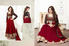 Beautiful Black and Maroon Georgette anarkali With heavy work of embroidery en-crafted in Golden all over. Matching Shantoon Bottom and Maroon Chiffon Duppatta with black border and fine work of embroidery included.