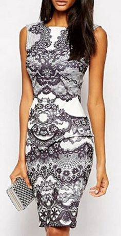 Gorgeous Grey and White Floral Print Sleeveless Bodycon Midi Dress #Gorgeous #Grey #White #BodyCon #Fashion