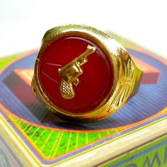 60s Vintage PISTOL RING Tin Treasure by cOveTableCuriOsitIEs, $4.95