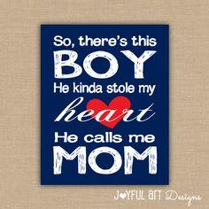 So there's this boy He kinda stole my heart He calls me mom PRINTABLE Wall Art. Boy Nursery Decor. Baby Shower Gift. Baby Boy DIGITAL file. $8.00