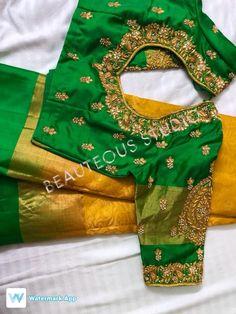 Wedding Saree Blouse Designs, Pattu Saree Blouse Designs, Designer Blouse Patterns, Fancy Blouse Designs, Blouse Neck Designs, Maggam Work Designs, Embroidery Suits Design, Work Blouse, Sarees