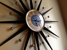Mid Century Atomic Starburst Wall Clock  Eames era Welby Starburst Clock