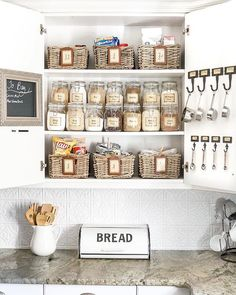 With the holidays just around the corner, it's time to organize the house from top to bottom. We love this tidy cabinet in @blesserhouse's beautiful kitchen.  To maximize your pantry cabinets' space, purchase or shop your home for baskets and jars to fit each shelf. Don't forget to add a chalkboard to write down your list of to-dos and to-buys! With pantry goods organized and within plain view, you can now enter into the holiday season a little less stressed!  #pantryorganization #kitchen...