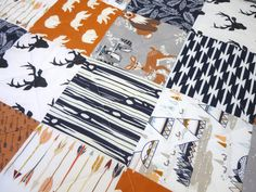 Navy Baby Quilt-Blue-Orange-Gray-Rustic by NowandThenQuilts