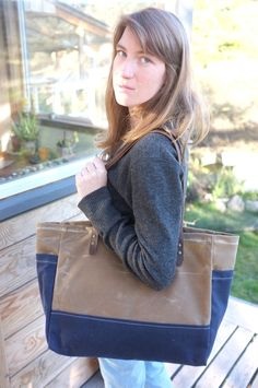 Waxed Canvas Tote  Boat Bag  Caramel / Blue  by BarnacleBags, $94.00