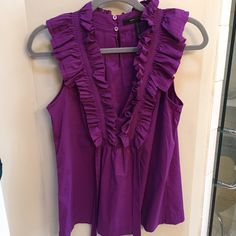 BCBGMaxAzria top Purple. 2 buttons at neck in back. Very flattering BCBGMaxAzria Tops Blouses