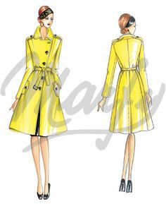 The Marfy hand made pre-cut sewing pattern :: Marfy Collection :: Autumn/Winter :: Sewing Pattern 3511 - Fashion Drawing Dresses, Fashion Illustration Dresses, Fashion Art, Fashion Models, Vintage Fashion, Marfy Patterns, Sewing Patterns, Italian Pattern, Moda Retro