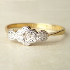 Art Deco 18k Gold and Diamond Ring, Antique Diamond Wedding Ring Vintage 18k Gold Engagement Ring Size US 5.5. $385.00, via Etsy.