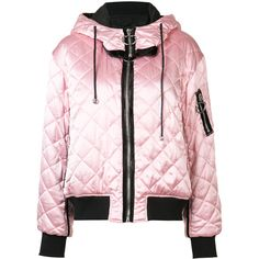 Nicopanda - quilted bomber jacket - women - Silk/Polyester - S (12,375 MXN) ❤ liked on Polyvore featuring outerwear, jackets, bomber style jacket, silk jacket, pink bomber jacket, flight jacket and quilted jacket